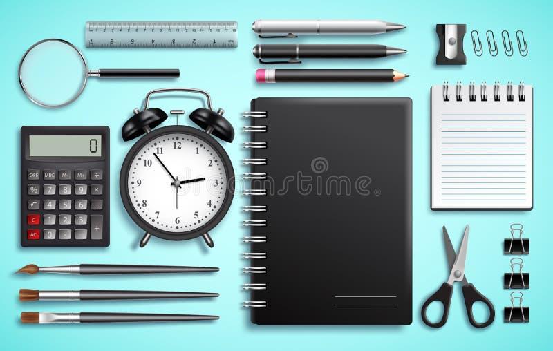 Комплект вектора деталей школы и канцелярские товаров или современных канцелярских принадлежностей дела иллюстрация вектора