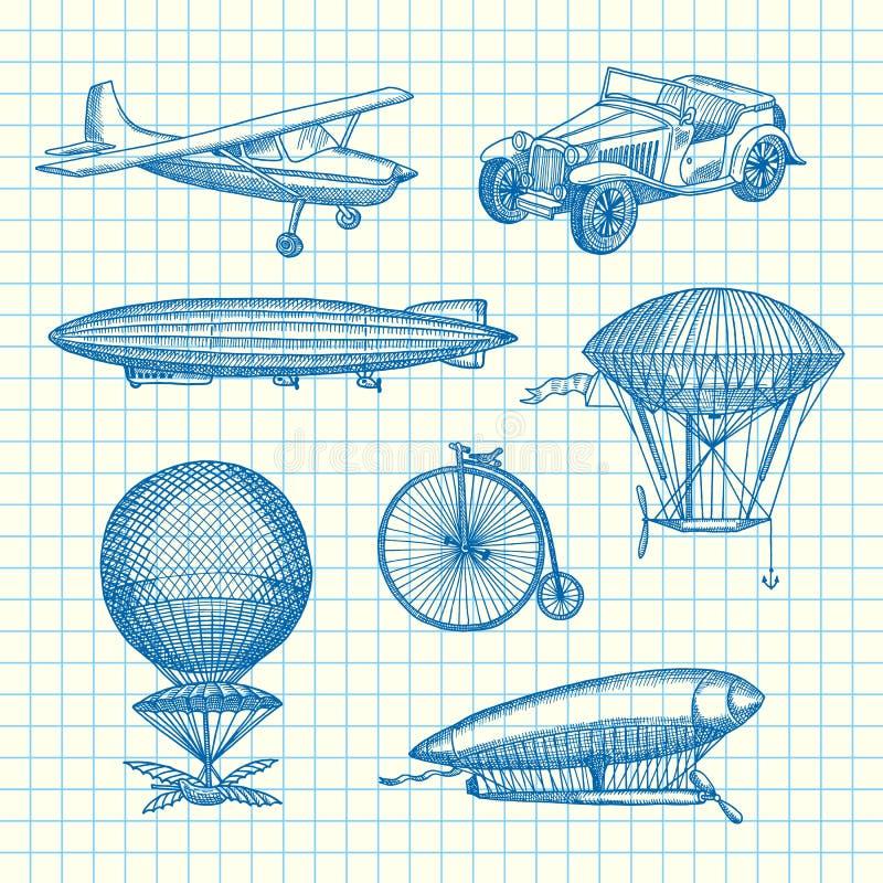 Комплект вектора дирижаблей, велосипедов и автомобилей steampunk нарисованных рукой иллюстрация штока