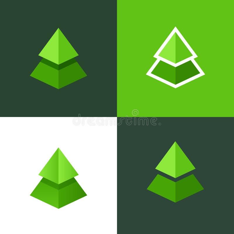 Комплект вектора елевого логотипа Квартира и эмблема градиента рождественской елки Логотип вектора для парков и воссозданий иллюстрация вектора