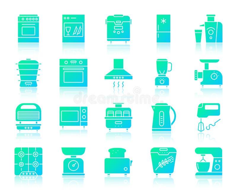 Комплект вектора значков градиента кухонного прибора простой иллюстрация штока