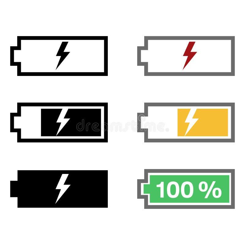 Комплект вектора значков зарядки аккумулятора иллюстрация штока