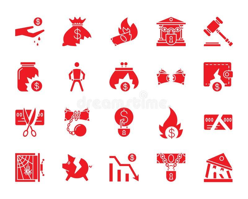 Комплект вектора значков силуэта банкротства красный бесплатная иллюстрация