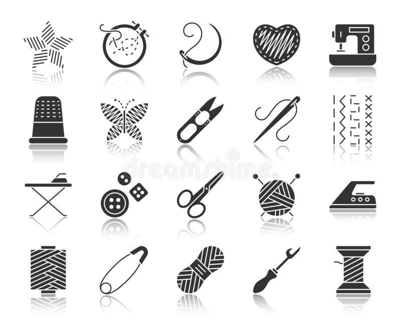 Комплект вектора значков силуэта Needlework черный иллюстрация вектора