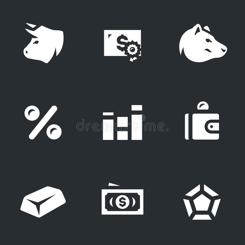 Комплект вектора значков фондовой биржи иллюстрация вектора
