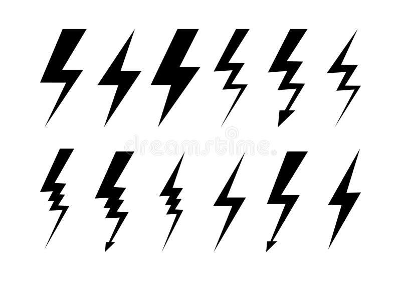 Комплект вектора значков Lighnings, плоских элементов дизайна, символов погоды иллюстрация штока