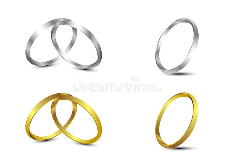Комплект вектора золота и серебряных обручальных колец бесплатная иллюстрация