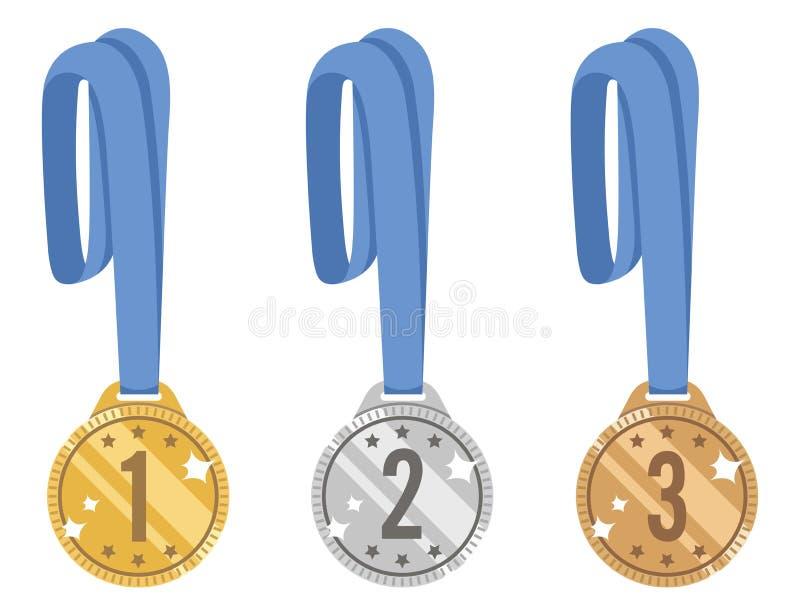 Комплект вектора золота, серебра и бронзовых медалей сияющий награда для победы с голубой лентой Иконы изолированные на белой пре бесплатная иллюстрация