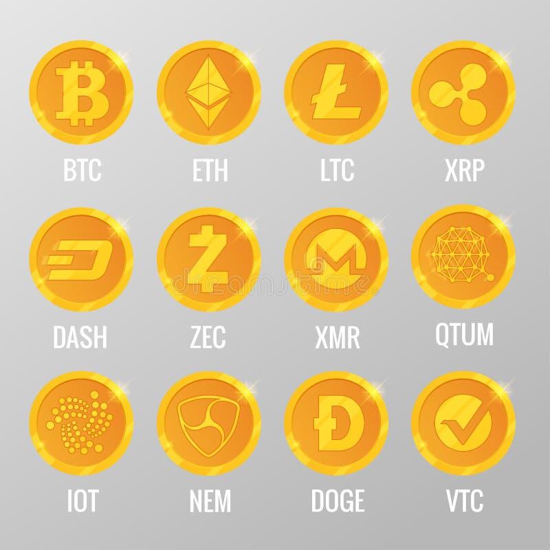 Комплект вектора золотых монеток Cryptocurrency с Bitcoin, ETH, LTC, XRP, ЧЕРТОЧКОЙ, ZEC, XMR, QTUM, IOT, NEN, ДОЖЕМ, VTC цифрово иллюстрация штока
