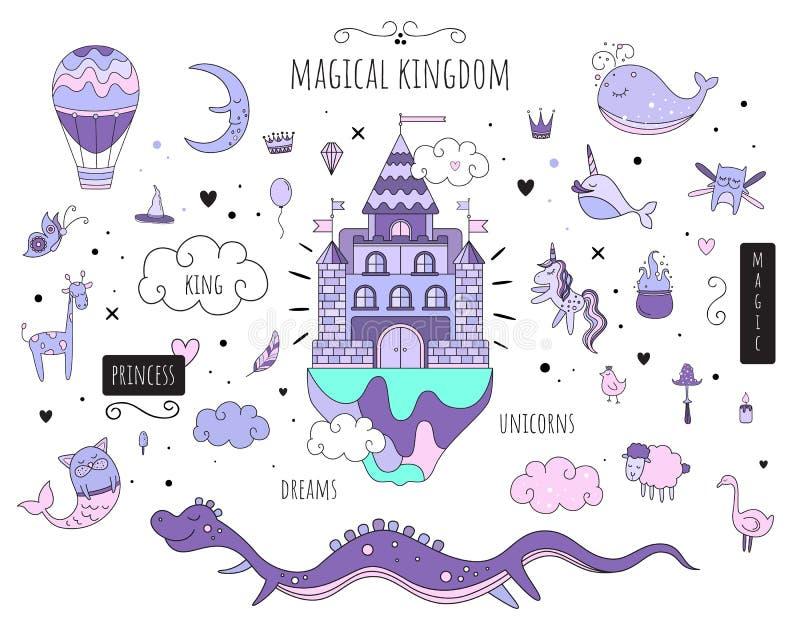 Комплект вектора изолировал изображения Волшебные животные Волшебный замок Пурпур тонизирует белую предпосылку бесплатная иллюстрация
