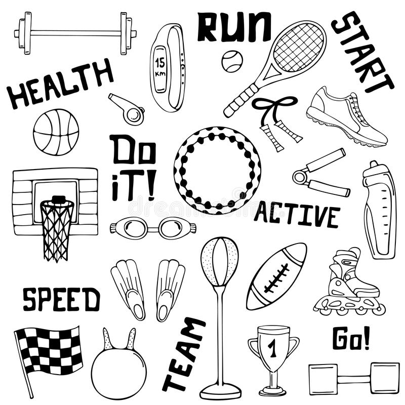 Комплект вектора иллюстраций спорта Линия искусство бесплатная иллюстрация