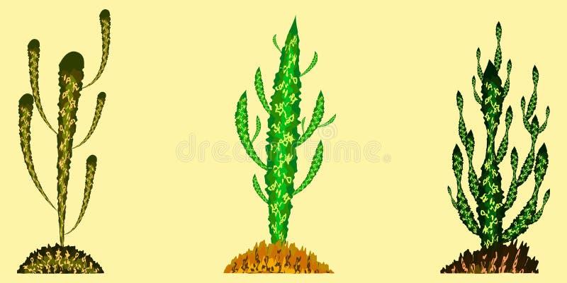 Комплект вектора кактусов в других цветах иллюстрация вектора