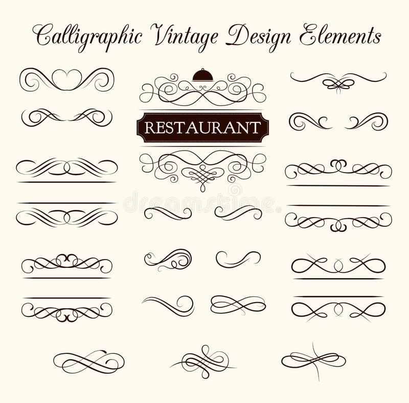 Комплект вектора каллиграфических элементов дизайна и украшений страницы Элегантное собрание свирлей иллюстрация штока