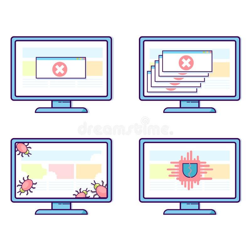 Комплект вектора компьютеров с различными проблемами безопасности: вирусы, смертоносные аварии, троянец иллюстрация штока