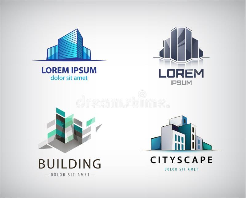 Комплект вектора красочных логотипов недвижимости, города и значков горизонта, иллюстраций Конструкция архитектора иллюстрация вектора