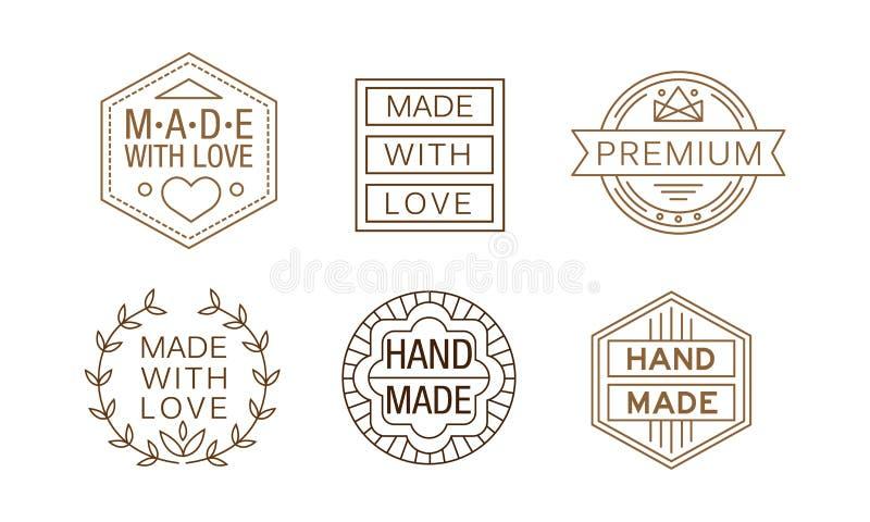 Комплект вектора линейных ярлыков для handmade ремесел Первоначально эмблемы для упаковки визитной карточки или продукта бесплатная иллюстрация