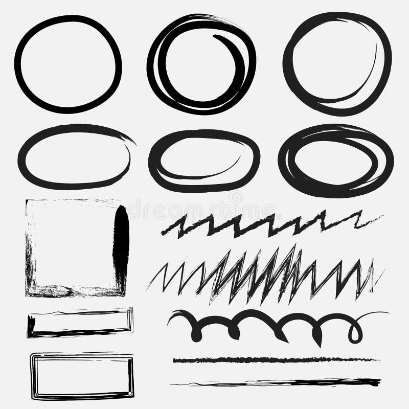 Комплект вектора линии grunge чистит текстуры щеткой бесплатная иллюстрация