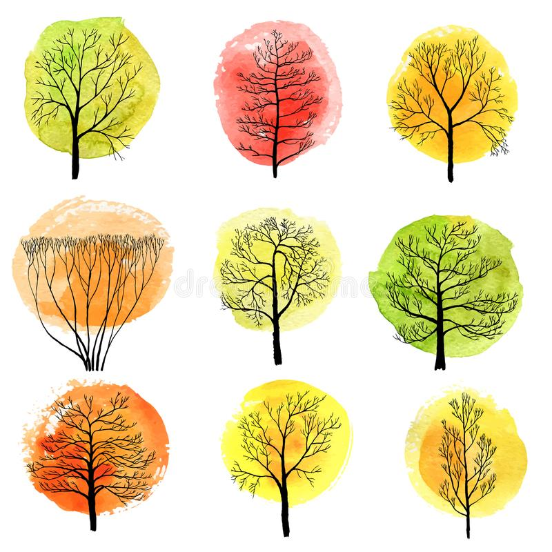 Комплект вектора лиственных деревьев иллюстрация штока