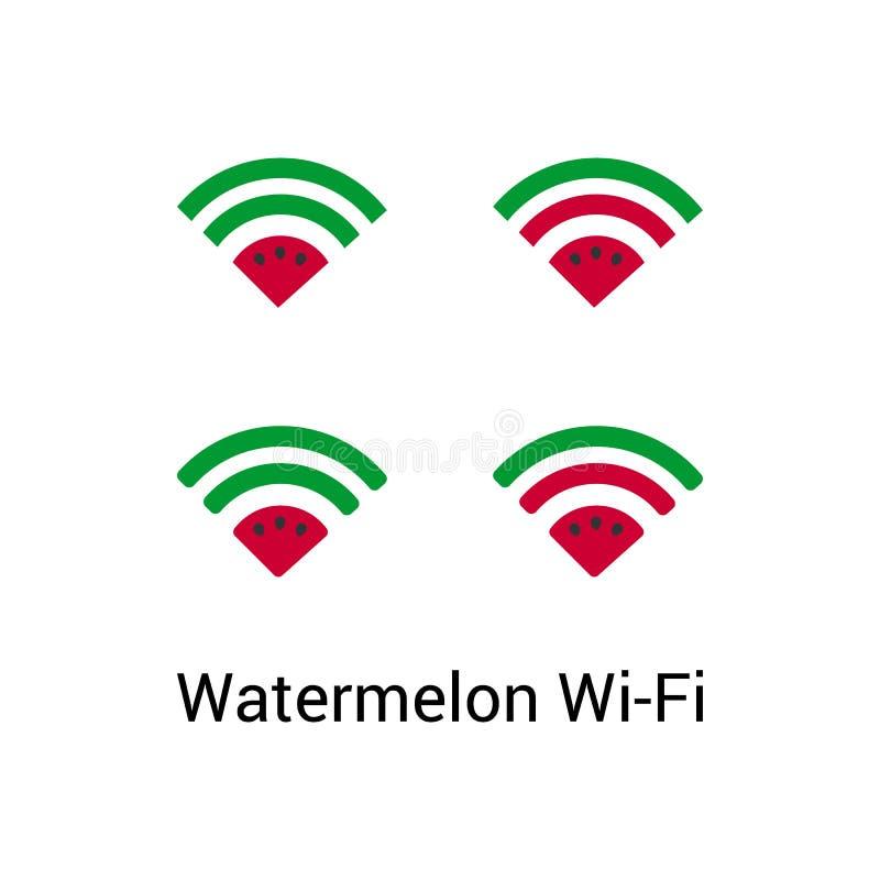 Комплект вектора логотипа Wi Fi арбуза бесплатная иллюстрация