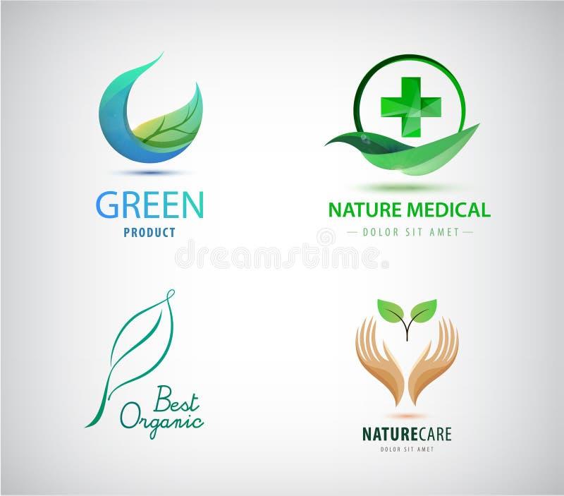Комплект вектора логотипов листьев Естественные косметики, медицина, eco, органические значки Зеленые крест и лист, круг, удержив иллюстрация штока
