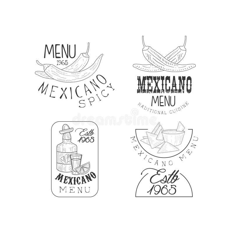 Комплект вектора 4 логотипов нарисованных рукой для мексиканского ресторана Monochrome эмблемы с перцами chili, nachos и текила бесплатная иллюстрация