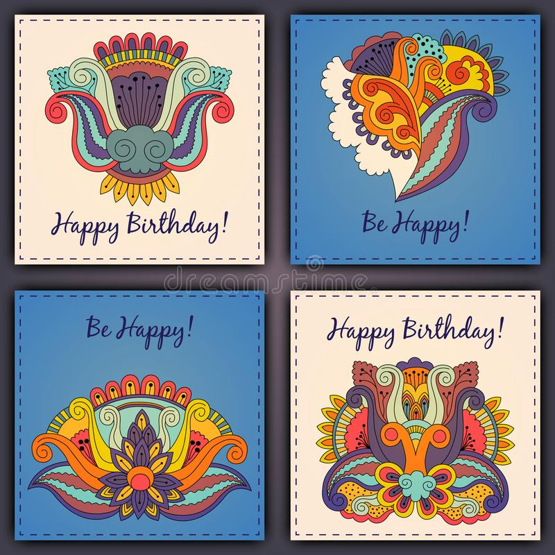 Комплект вектора нарисованной руки конспекта поздравительой открытки ко дню рождения doodles стоковое изображение rf
