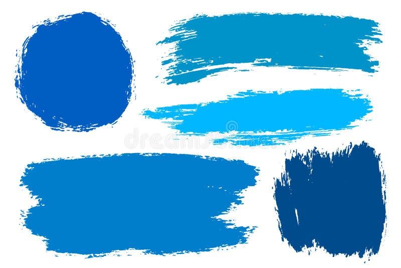 Комплект вектора нарисованных рукой ходов щетки, пятен для фонов Набор элементов дизайна grunge цвета Vrious голубой цвет multi иллюстрация штока