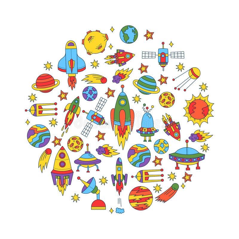 Комплект вектора округлой формы значков doodle космического пространства красочный иллюстрация штока