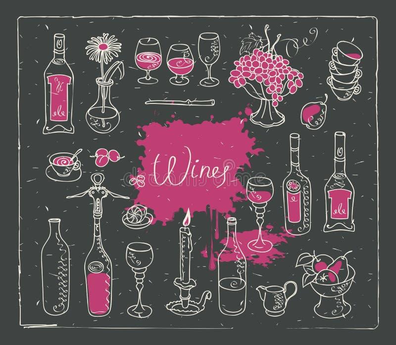 Комплект вектора отображает на теме вина иллюстрация штока