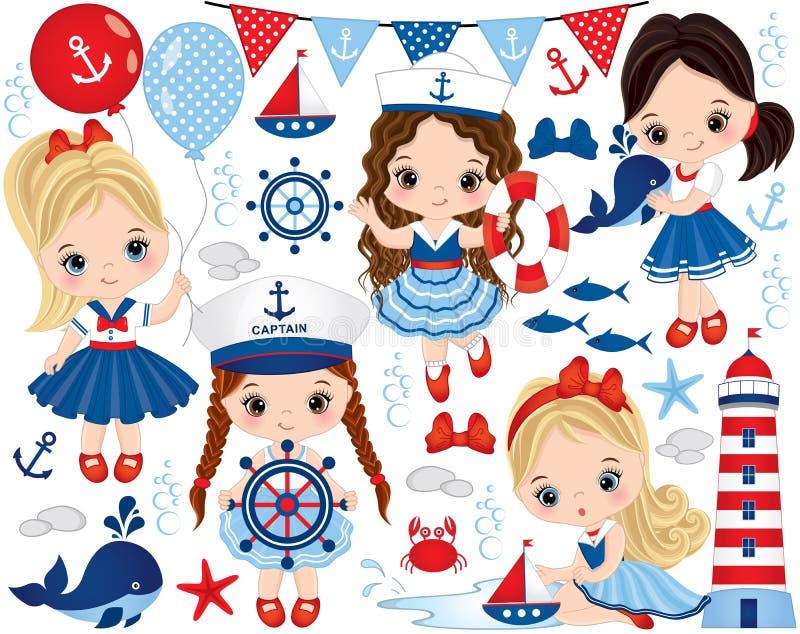 Комплект вектора при милые маленькие девочки одетые в морском стиле, морских животных и объектах