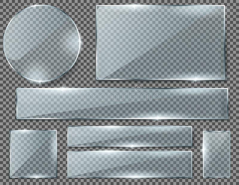 Комплект вектора прозрачных стеклянных пластинок или знамен бесплатная иллюстрация