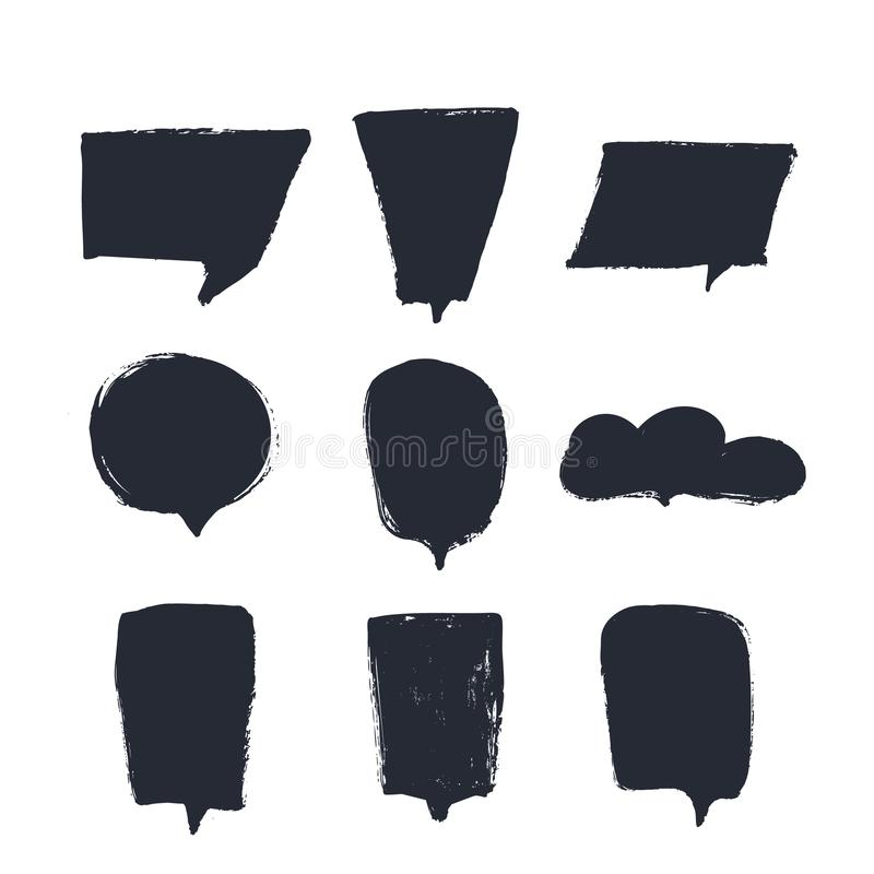 Комплект вектора пузырей речи для шаблонов цитаты с местом для предпосылки черноты дизайна чернил Grunge текста иллюстрация штока