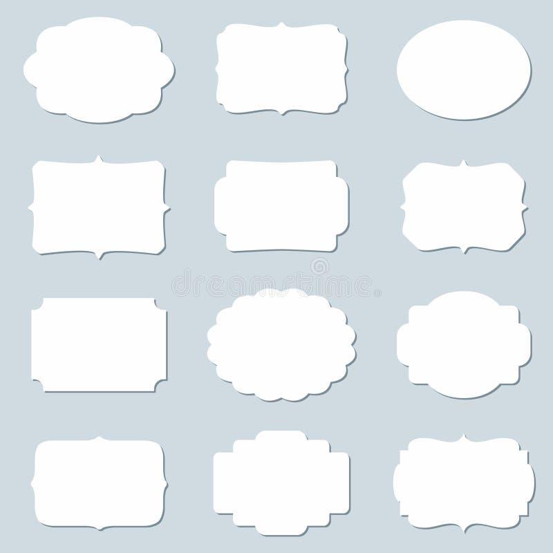 Комплект вектора пустых рамок и пустых бирок иллюстрация вектора