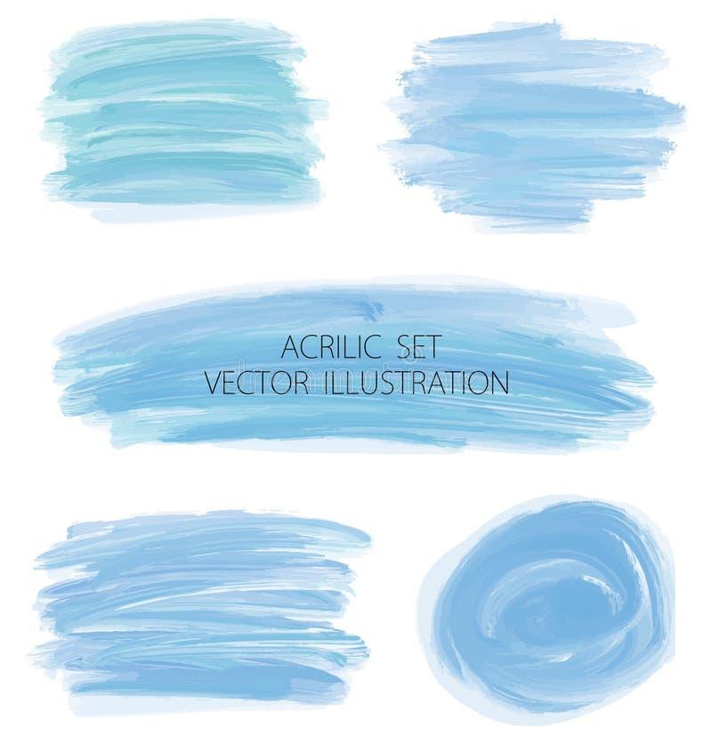 Комплект вектора пятен акварели сини военно-морского флота иллюстрация штока
