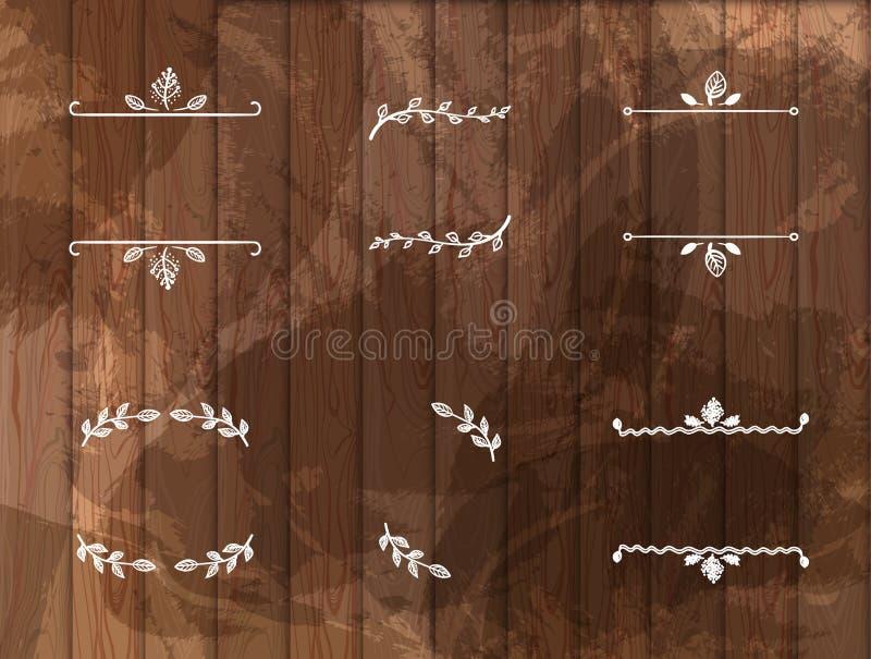 Комплект вектора рамок нарисованных мелом на деревянной предпосылке иллюстрация штока