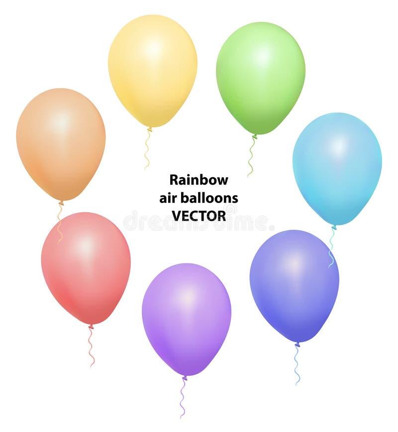 Комплект вектора реалистических изолированных воздушных шаров для торжества и украшения на белой предпосылке иллюстрация вектора