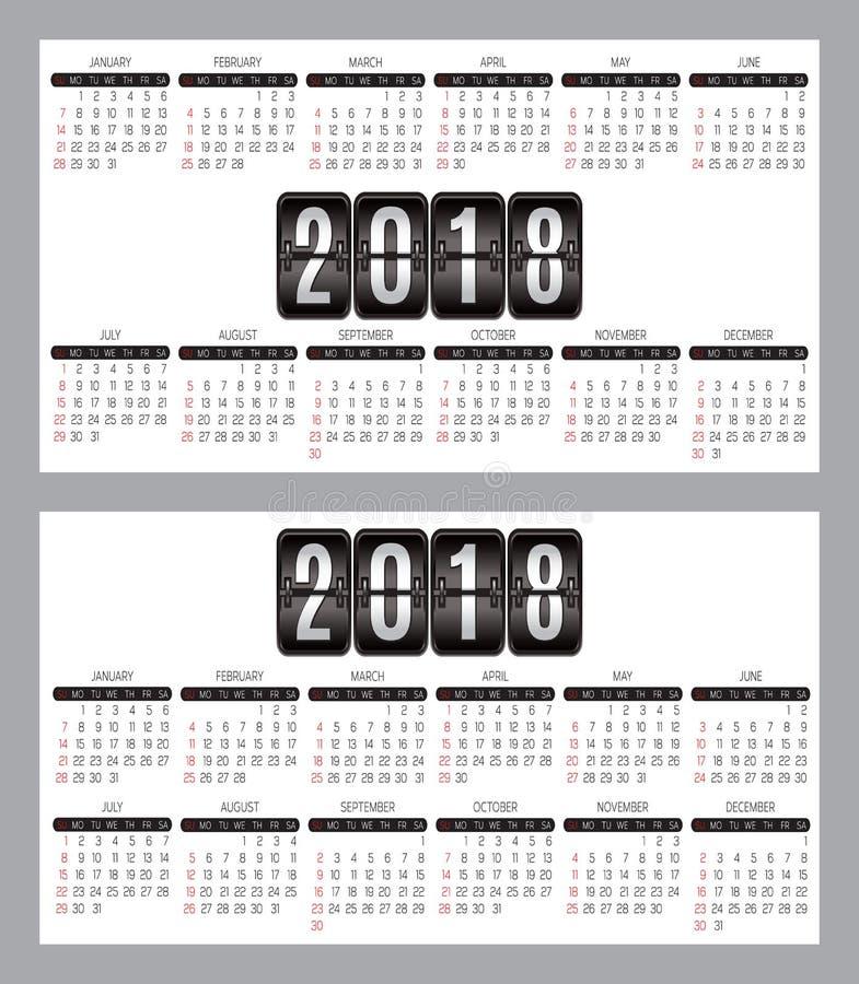 Комплект вектора решетки календаря на леты 2018-2019 для визитных карточек на предпосылке бесплатная иллюстрация