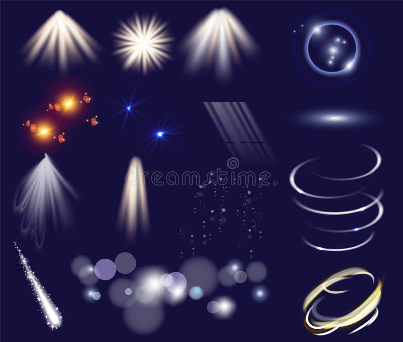 Комплект вектора световых эффектов Изолированные объекты шаблона искусства зажима Звезды зарева светлые разрывают с sparkles Волш иллюстрация вектора