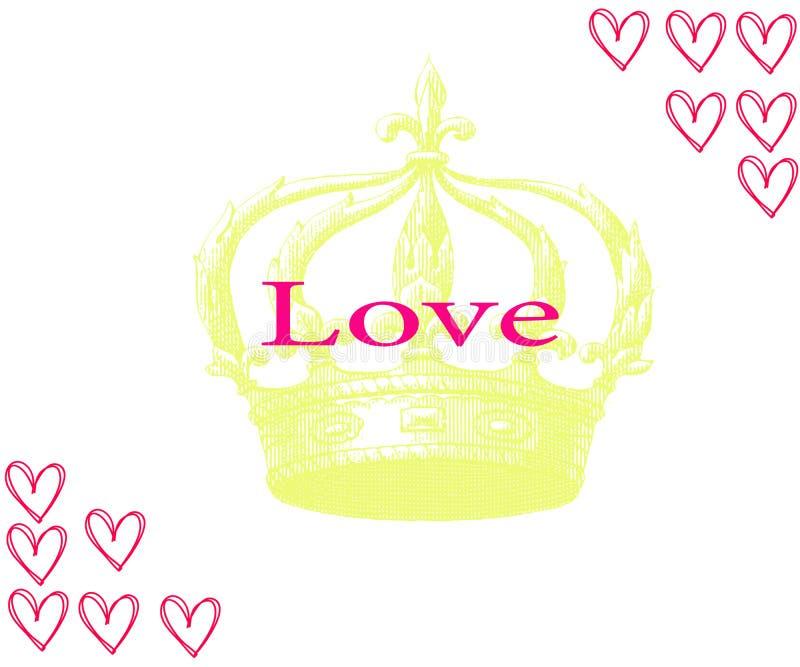 Комплект вектора сердец и крон нарисованных рукой Влюбленность надписи с кроной иллюстрация вектора