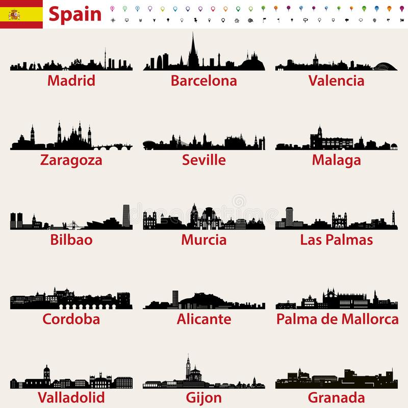 Комплект вектора силуэтов горизонтов самых больших городов Испании иллюстрация вектора