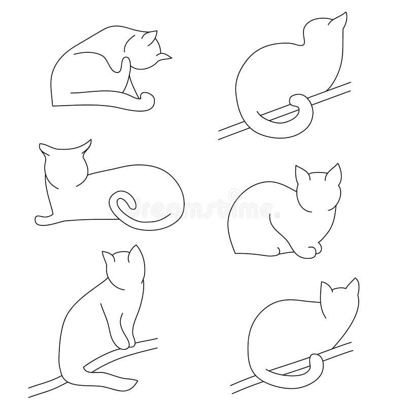 Комплект вектора силуэтов кота контура Различные позиции: сидеть, лежащ, отдыхающ, играть, охотясь иллюстрация вектора