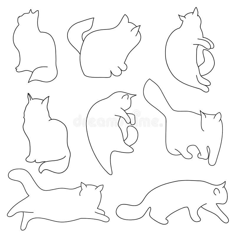 Комплект вектора силуэтов кота контура Различные позиции: сидеть, лежащ, отдыхающ, играть, охотясь белизна изолированная предпосы бесплатная иллюстрация