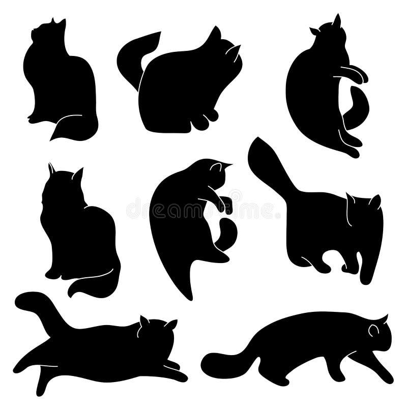 Комплект вектора силуэтов кота Различные позиции: сидеть, лежащ, отдыхающ, играть, охотясь иллюстрация вектора