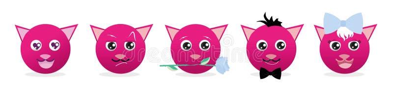Комплект вектора смайлика кота Вектор Emoji Комплект значка улыбки Сеть значка смайлика Романтичный кот иллюстрация вектора