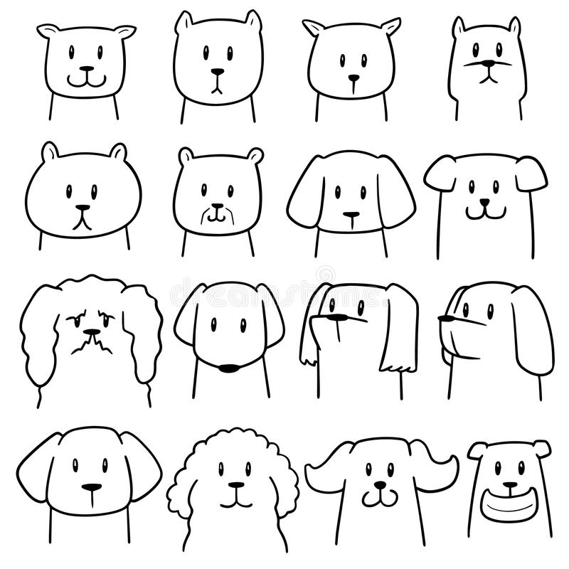 Комплект вектора собаки иллюстрация вектора