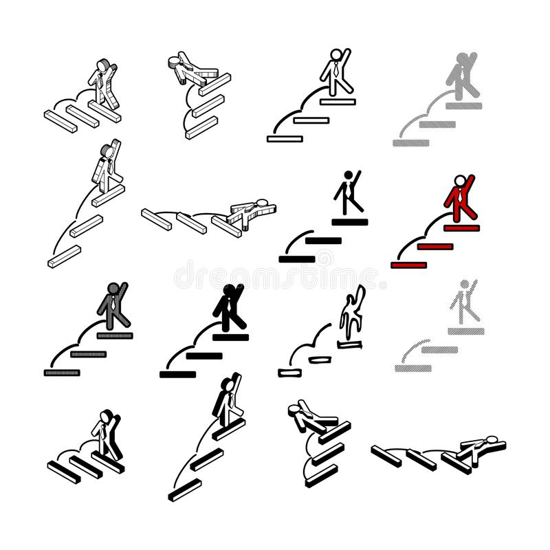 Комплект вектора собрания современного Тип значка людей шага multi  иллюстрация вектора