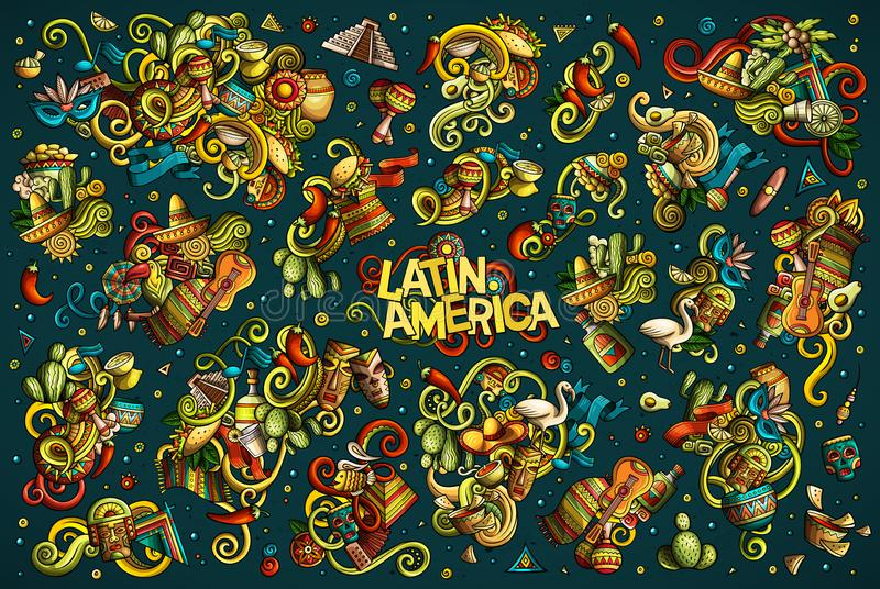 Комплект вектора сочетаний из Латинской Америки возражает и элементы