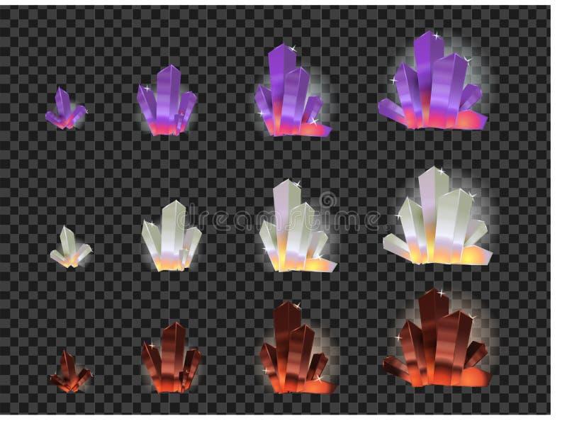 Комплект вектора стеклянных кристаллов изолированных на прозрачной предпосылке Развитие кристаллов от малого к большому бесплатная иллюстрация