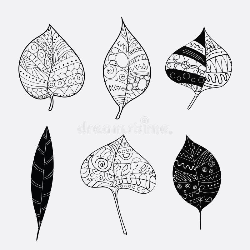 Комплект вектора стилизованных листьев дерева Упаденные листья осени с орнаментами Собрание черно-белых заводов с иллюстрация вектора
