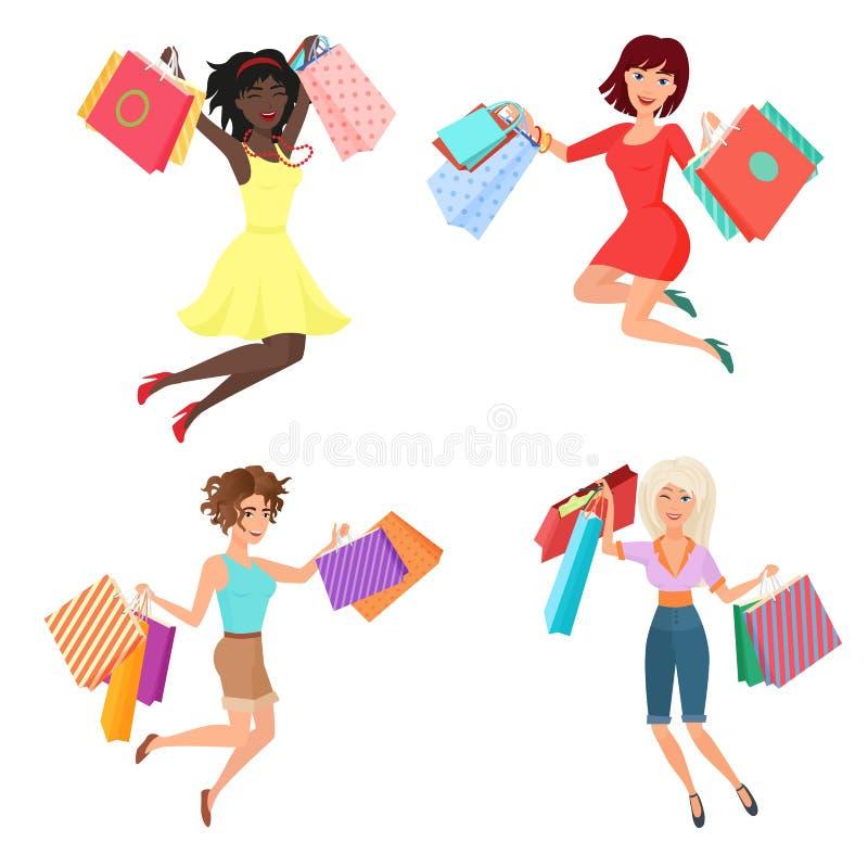 Комплект вектора счастливых и жизнерадостных милых женщин женщины скача танцы с хозяйственными сумками бесплатная иллюстрация
