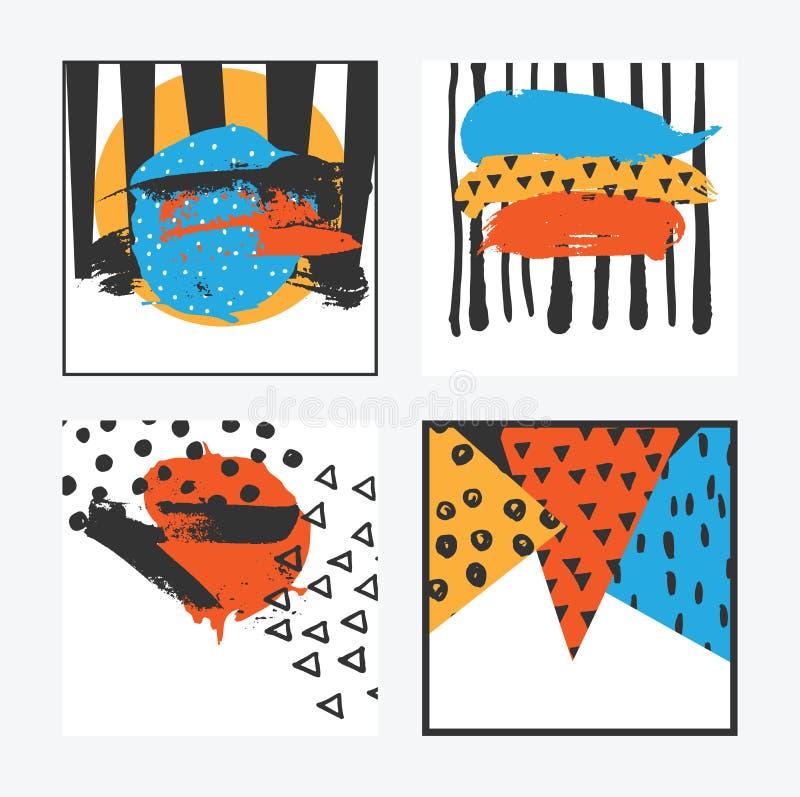 Комплект вектора с квадратными карточками в ярких цветах при элементы нарисованные рукой нарисованные с щеткой Цвета апельсина, с бесплатная иллюстрация